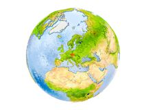 Czech republic on globe isolated. Czech republic highlighted in red on model of Earth. 3D illustration isolated on white background. Elements of this image Stock Photos