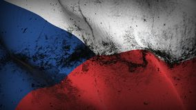 Czech Republic grunge dirty flag waving on wind. Czech Republic background fullscreen grease flag blowing on wind. Realistic filth fabric texture on windy day Stock Photos