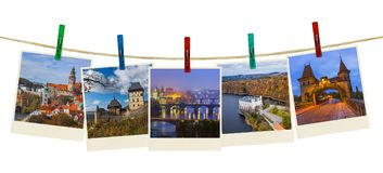 Czech republic images my photos on clothespins. Isolated on white background Royalty Free Stock Photo