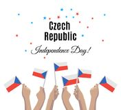 Czech Republic Independence Day with Czech flags Stock Photo