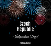 Czech Republic Independence Day placard with fireworks Royalty Free Stock Images