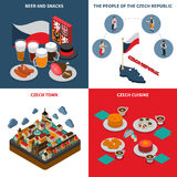 Czech Republic  4 Isometric Icons Square Stock Images