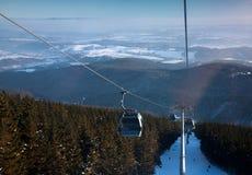 Czech Republic - Janske lazne - Cerna hora. Cableway, ski slope stock photography