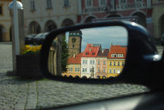 Czech Republic, Jicin. Old city square in driving mirror Royalty Free Stock Images