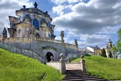 Complex of baroque hospital from 1692 with M.B. Braun statues, Kuks, East Bohemia, Czech Republic. CZECH REPUBLIC, KUKS - JUN 18, 2007: complex of baroque Royalty Free Stock Photos
