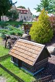 Castle Berchtold from 1877 and park with model miniatures of czech landmarks, Benice, Vidovice village, Czech republic. CZECH REPUBLIC, KUNICE - JUN 15, 2015 Royalty Free Stock Photography