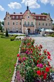 Castle Berchtold from 1877 and park with model miniatures of czech landmarks, Benice, Vidovice village, Czech republic. CZECH REPUBLIC, KUNICE - JUN 15, 2015 Stock Images