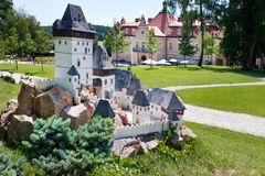 Castle Berchtold from 1877 and park with model miniatures of czech landmarks, Benice, Vidovice village, Czech republic. Model of K. CZECH REPUBLIC, KUNICE - JUN Stock Photo