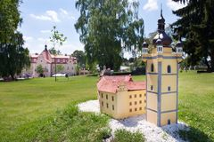 Castle Berchtold from 1877 and park with model miniatures of czech landmarks, Benice, Vidovice village, Czech republic. CZECH REPUBLIC, KUNICE - JUN 15, 2015 Royalty Free Stock Photos