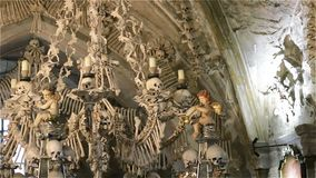 Czech Republic. Kutna Hora. Skulls and bones in the ossuary in Kutna Hora.  stock video footage