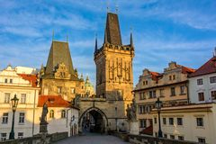 Czech Republic. Lesser Town Bridge Towers on Charles Bridge in Prague at dawn Stock Photo