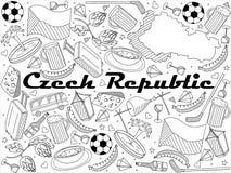Czech Republic line art design vector illustration. Czech Republic coloring book line art design vector illustration. Separate objects. Hand drawn doodle design Stock Images