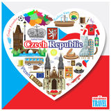 Czech Republic love. Vector icons and symbols set of landmarks in form of heart Royalty Free Stock Photos