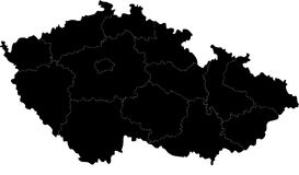 Czech Republic map. Blind map of Czech Republic map with regions borders. Names of the regions, main cities, and neighbouring countries  are in an additional Royalty Free Stock Images
