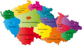 Czech Republic map. Designed in illustration with the regions colored in bright colors and with the main cities. Neighbouring countries are in an additional