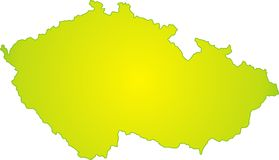 Czech republic map. With green gradient in vector Royalty Free Stock Photo
