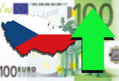 Czech Republic map on Euro money background green arrow rising Stock Images