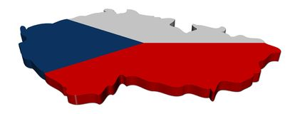 Czech Republic map flag Stock Photography