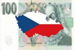 Czech Republic map on 100 Korun money background Stock Images