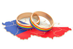 Czech Republic map with LGBT rainbow rings, 3D rendering Royalty Free Stock Photo