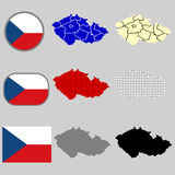 Czech Republic map vector with the czech flag - black silhouette - polka dots - vector set Royalty Free Stock Image