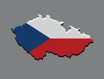 Czech Republic map vector with the czech flag Stock Photos