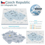 Czech Republic maps with markers Stock Photography