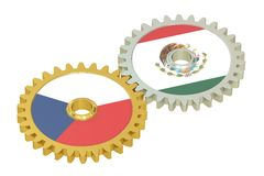 Czech Republic and Mexico flags on a gears, 3D rendering Royalty Free Stock Photo