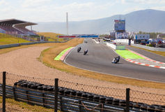 CZECH REPUBLIC, MOST, 25 JULY,  2015:Trainings of motorbikes on the race track. Royalty Free Stock Photos