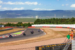 CZECH REPUBLIC, MOST, 25 JULY, 2015:Trainings of motorbikes on the race track. stock photography