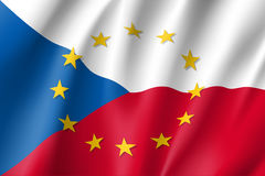 Czech Republic national flag with a circle of EU Stock Images