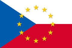Czech Republic national flag with a circle of EU Royalty Free Stock Images