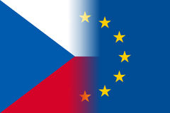 Czech Republic national flag with a circle of EU Royalty Free Stock Image