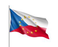 Czech Republic national flag with a circle of EU Royalty Free Stock Photo