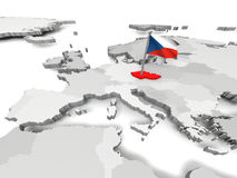 Czech Republic. With czech national flag on map of Europe Stock Photo