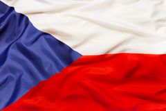 Czech Republic national flag with waving fabric. Czech Republic country independent state national flag banner close-up with waving fabric texture Stock Photo