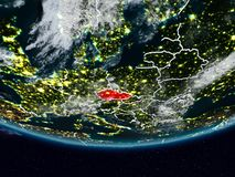 Czech republic during night. Czech republic on Earth at night with visible country borders. 3D illustration. Elements of this image furnished by NASA royalty free illustration