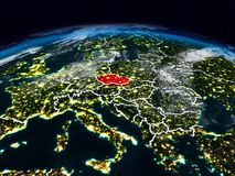 Czech republic at night. Czech republic from space at night on Earth with visible country borders. 3D illustration. Elements of this image furnished by NASA Stock Photos