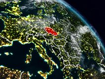 Czech republic at night. Czech republic from space at night with visible country borders. 3D illustration. Elements of this image furnished by NASA Royalty Free Illustration