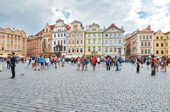 Czech Republic. People relax on the Old Town Square in Prague. Czech Republic. Prague. People relax on the Old Town Square in Prague Royalty Free Stock Images