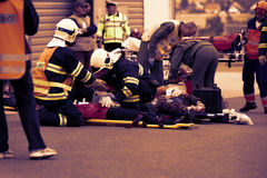 CZECH REPUBLIC, PLZEN, 30 NOVEMBER, 2015: A team of emergency medical services at work,wounded on a stretcher at the scene of a ca Stock Photo