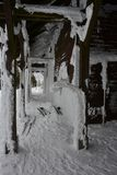 Czech Republic, Poledník lookout tower, snowy ground floor. stock photography
