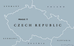 Czech Republic political map. With capital Prague, national borders and neighbor countries. Also Czechia, a landlocked nation state in Central Europe. Gray Stock Image