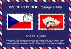 Czech Republic postage stamp, postage stamp, vintage stamp, air mail envelope. Royalty Free Stock Images