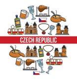 Czech Republic famous landmarks vector poster. Czech Republic poster of famous travel landmarks and traditional culture attraction symbols. Vector Czech Republic Stock Image
