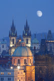 Czech republic, prague. Spires of the old town and tyn church Stock Photography