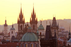 Czech republic, prague. Spires of the old town and tyn church Stock Image