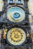 Czech republic. Prague astronomical clock. Close up Royalty Free Stock Images
