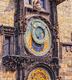 Czech Republic. Prague Astronomical Clock. Medieval timepiece on the facade of city hall displaying the twelve apostles as the clock strikes Stock Photo