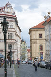 CZECH REPUBLIC, PRAGUE - August 4, 2014: view of street in the h Royalty Free Stock Photography
